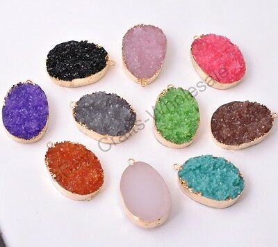 Wholesale Nugget Sliced Resin Necklaces & Pendants Charm Gold 35X32MM