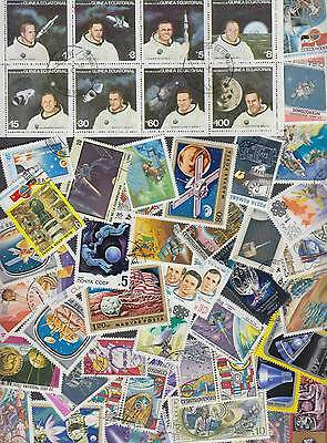100 All different world stamps of SPACE theme astronauts comets planets cosmos