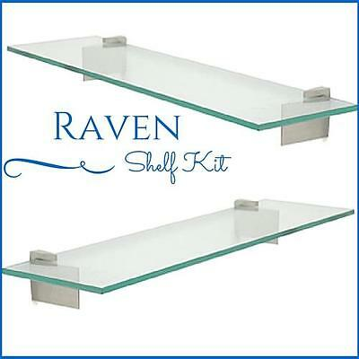 Raven Floating Glass Shelf Kit 38 Tempered Glass Shelf With 2