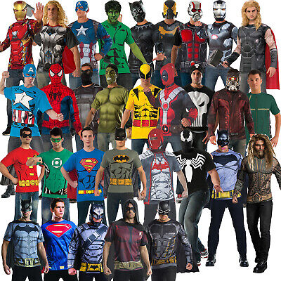 Licensed Adult Mens Superhero Costume Top T-Shirt Mask Cape Thor Batman Deadpool