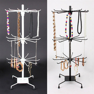3 Tier Spinner Rotating Revolving Counter Display Stand  removable  30 Hooks UK