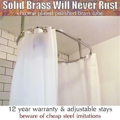 High Quality Oval & Round Chrome Plated Shower Curtain Rail inc Adjustable Stays