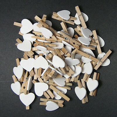 White Heart Mini Wooden Clips Pegs Clothespin Wedding Decor Craft YXT8043x30