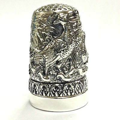 Victorian Style Embossed Bird Farm Scene Thimble Pin Cushion 925 Sterling Silver