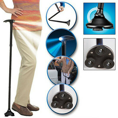 Durable Adjustable Handle Folding Smart Cane With LED Lights Black Walking Stick