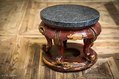 19th Century Oriental Red Lacquer Jardiniere Stand
