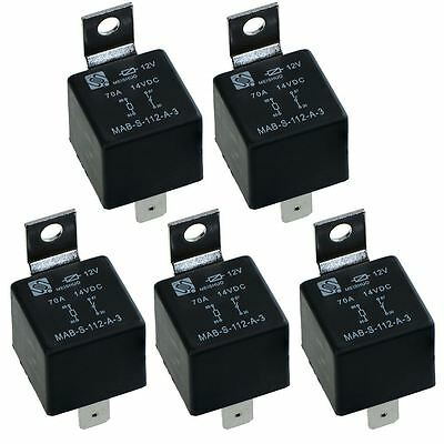 5 x 12V Automotive Normally Open Relay 70A 4-Pin NO