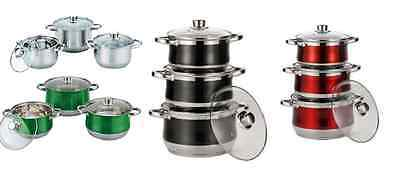 Royal Cuisine 3 Piece Set Coloured Stainless Steel Stock Pot Induction Cooker