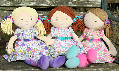 Personalised Embroidered Bonikka Girls Rag Doll 42cms, new baby gift