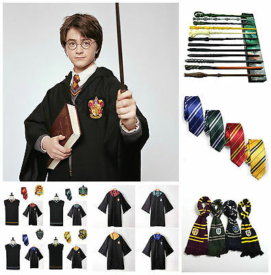 NEW! Adult Harry Potter Costume Hogwarts Cloak Vest Robe Wand Tie Scarf Cosplay