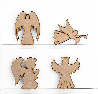 Various Angels Craft Shapes 3mm MDF Wood Christmas Embellishments Blank Plaques