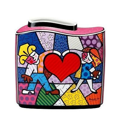 "ROMERO BRITTO - MIAMI POP ART - ""HEART KIDS"" - Tischvase Goebel Porzellan NEU !!"