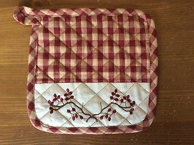 Primitive country farmhouse embroidered berry burg/tan check potholder