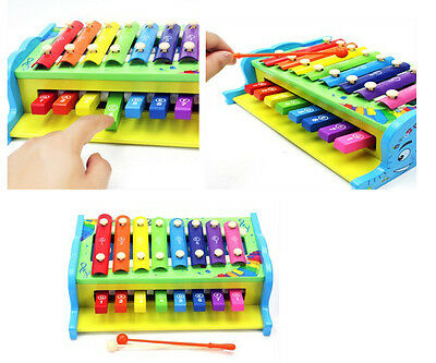 Multifunction 2 in 1 Kid Xylophone Toys Gift Wisdom Development Wooden Colorful