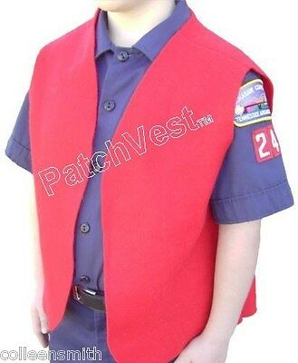 DEN SPECIAL (6 or 8 VESTS) Felt Cub Boy Scout Red Patch Brag Award Youth NEW
