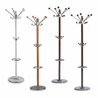 Natural Timber Wood Steel Hanger Tree Coat Hat Bag Umbrella Stand 14 Hooks