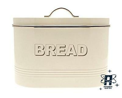 Home, Furniture & Diy Vintage Retro Style Metal Cream Bread Bin New Cookware, Dining & Bar
