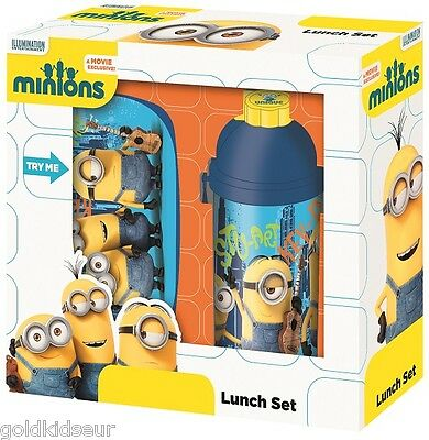 Minions Pausenset Lunchbox Brotdose + Trinkflasche Brotzeit - Set Kinder NEU