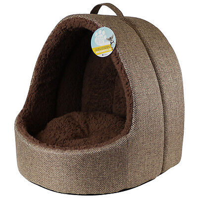 Me & My Large Brown Fleece Igloo Cat Bed Pet/kitten/dog/puppy Warm/snug Cave Pod