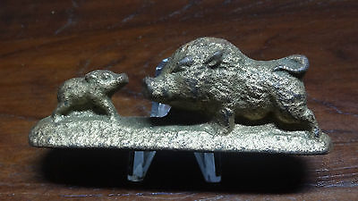 Vintage Japan Cast Iron Wild Boar With Tusk and Piglet Sculpture Figurine Tooth