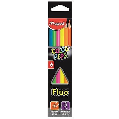 Maped Fluo Fluorescent Pencil Crayons Highlighters Bright Coloured Pencils Helix