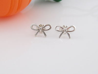 Tiffany & Co Silver Ribbon Bow Studs Earrings