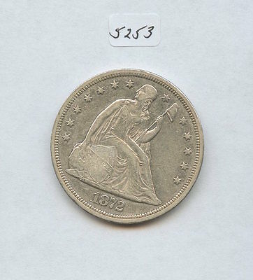 1872 Seated Liberty Dollar (#5253) Looks AU. Cleaned. Trace of Old P/L Surfaces.