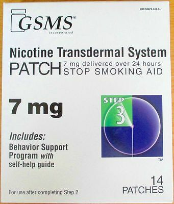 GSMS Nicotine Transdermal System 7mg 14 Patches Step 3 Exp 09/2017