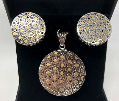 18K Two Tone Gold Italian Round/Circle Pendant & Earrings Jewelry Set 12.3 grams