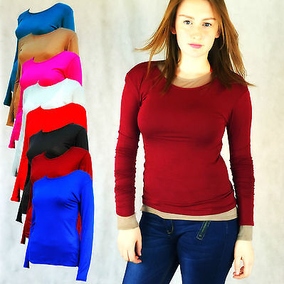 Ladies Plain Long Sleeved T-Shirt Top Round Neck Layering Black Red Grey 8 - 18