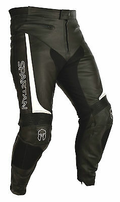 Oxford Spartan Full Grain Leather Motorcycle Sport Pant Black/White CE Armour T