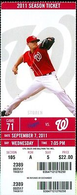 2011 Washington Nationals vs Los Angeles Dodgers Ticket: