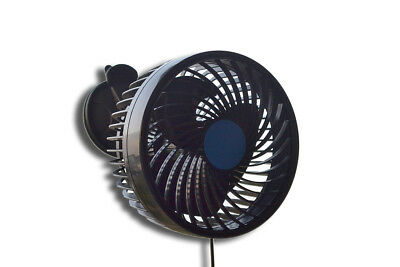 """24V Adjustable 6"""" Suction Cup Fan Truck Cab Oscillating Speed Change Air Cooling"""