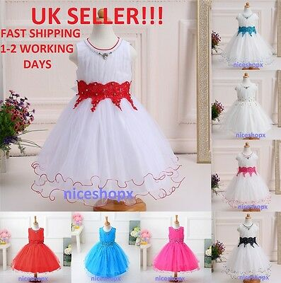 GIRLS Flower Formal Wedding Bridesmaid Party Christening Prom Dress(54)