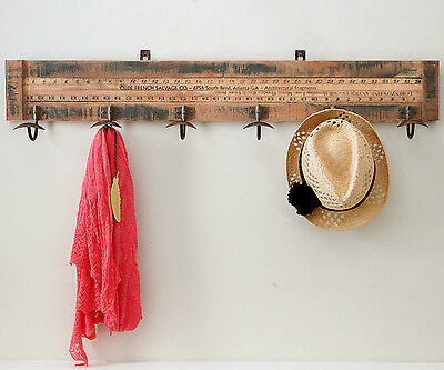 Vintage Yardstick Coat Rack 6 Hook Wall Mounted Hook Rack 100cm Wide