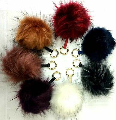New Faux Fur Soft Fluffy Ball Key Chain PomPom Handbag Charm Dangle Car Key Ring