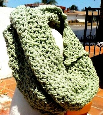 Light Green Scalloped Edge Long Soft Cowl Ladies Neck Scarf With Free Shipping