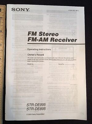 Sony STR-DE995 Stereo Receiver Original Owners Manual 74 Pages strde895 A16