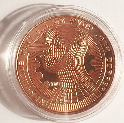 "2016 1 OZ ""BITCOIN GUARDIAN""  999.0 Pure Copper Bullion Coin/token in Ac/Cap"