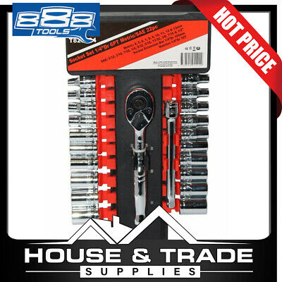 888 Tools 22 Piece 1/4''Drive 6PT Metric/SAE Imperial Socket Set T820104