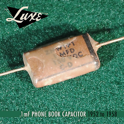 1952-58 Luxe Wax-Impregnated Strat/P-Bass .1mF Phone Book Capacitor Vintage Spec