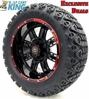 "Golf Cart Wheels and Tires Combo - 14"" Madjax Transformer Black/Red - Set of 4"