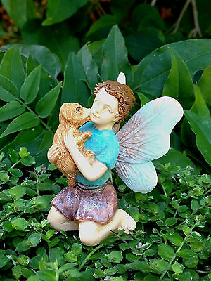 Miniature Dollhouse FAIRY GARDEN ~ Boy with Puppy Dog Pick ~ NEW