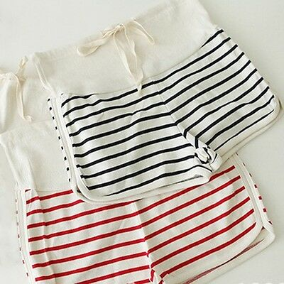 New Women Maternity Shorts Pregnant Over Bump Hot Pants Striped Short Trousers