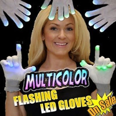 White 6 Function Flashing Gloves Rave Party LightUp LED Hands - BlowOut Pricing!