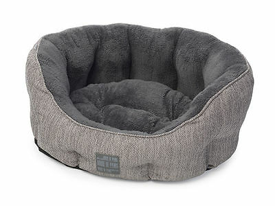 House of Paws Grey Hessian Luxury Soft Puppy Dog Bed - Choice of Sizes