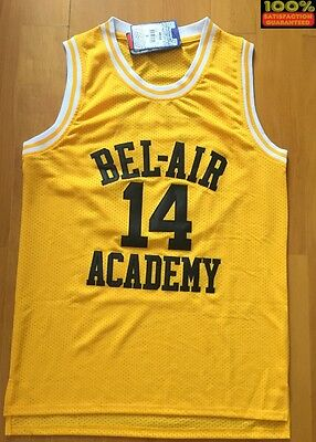 BEL-AIR Bel Air Basketball Jersey 14 WILL SMITH SEWN Gold THE FRESH PRINCE