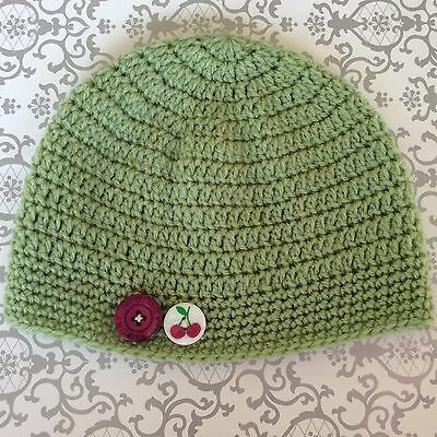 LIME CROCHET BABY BEANIE  with BUTTONS - 6- 12 months  made in WA
