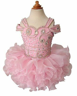 Pink Baby Girls Organza Halter Toddler Birthday Party Cupcake Pageant Dresses