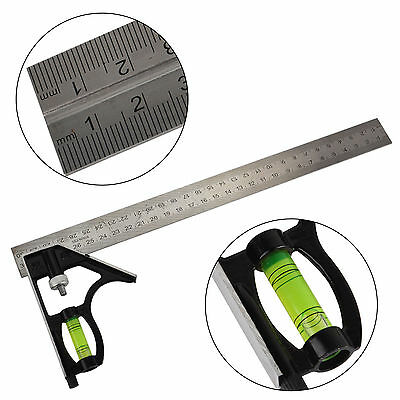 Adjustable 12'' 300mm Engineers Combination Try Square Set Right Angle Guide